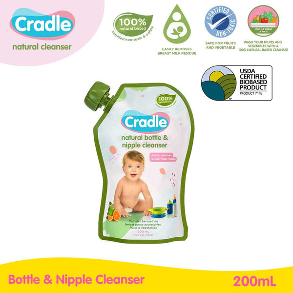 Cradle Natural Bottle & Nipple Cleanser 200ml Refill