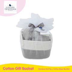 Living Textiles Cotton Gift Basket - Theodore Knit Toy + Stripe Blanket