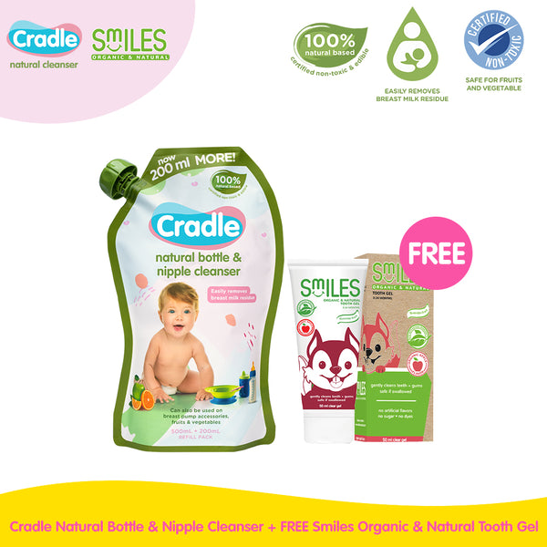 Cradle Natural Bottle & Nipple Cleanser + FREE Smiles Organic & Natural Tooth Gel