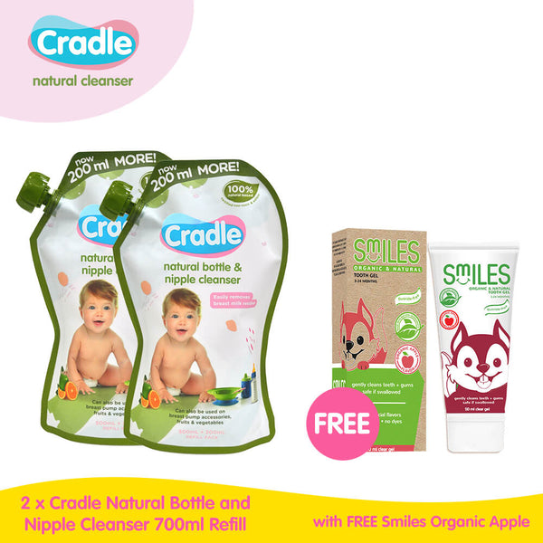 Buy 2 Cradle Natural Bottle & Nipple Cleanser 700mL Refill Get 1 FREE Smiles Organic & Natural Tooth Gel Apple