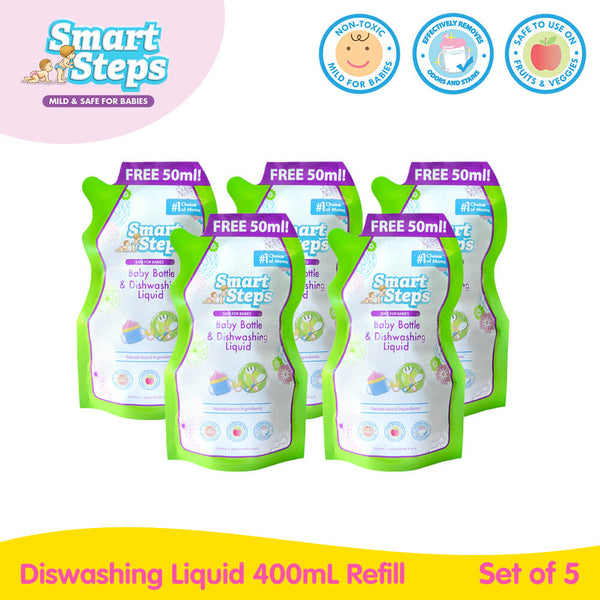 Smart Steps 400ml Baby Bottle and Dishwashing Liquid Refill Set of 5