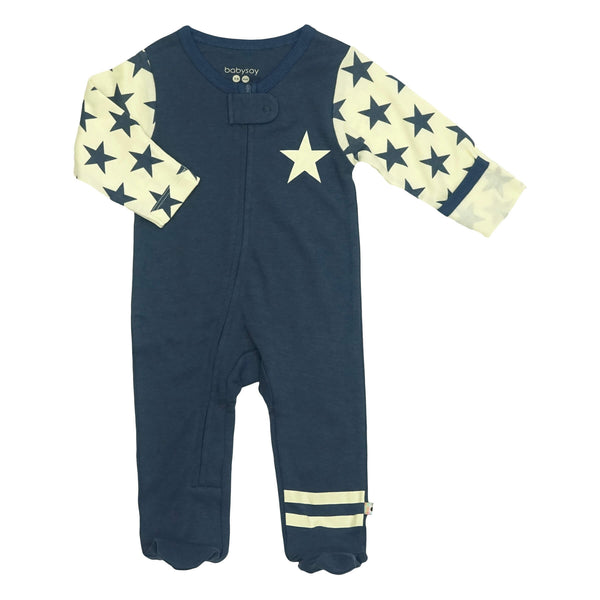 Babysoy Zipper Footie - All-Star Indigo