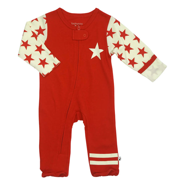 Babysoy Zipper Footie - All-Star Red