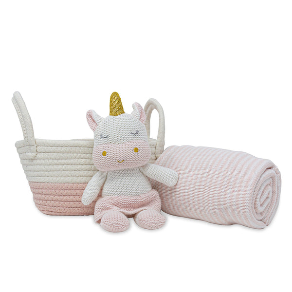 Living Textiles Cotton Gift Basket - Kenzie Unicorn Toy + Cotton Stripe Blanket