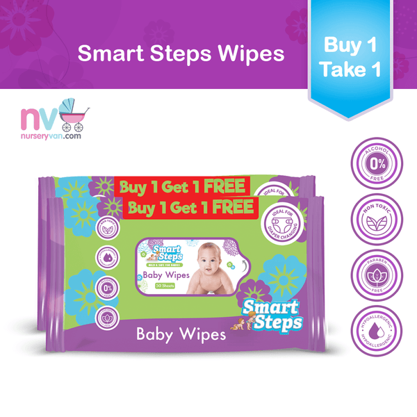 Smart Steps Baby Wipes 50's (Buy 1 Get 1)