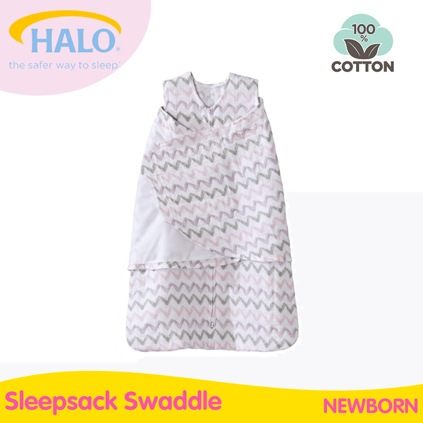 Halo Swaddle Muslin Chevron Pink