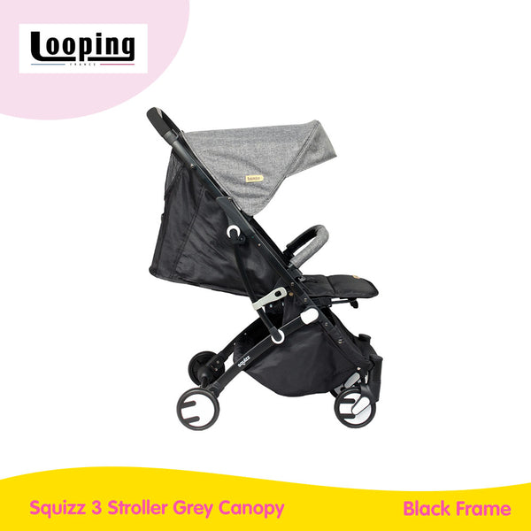 Looping Squizz 3 Stroller Grey Canopy - Black Frame