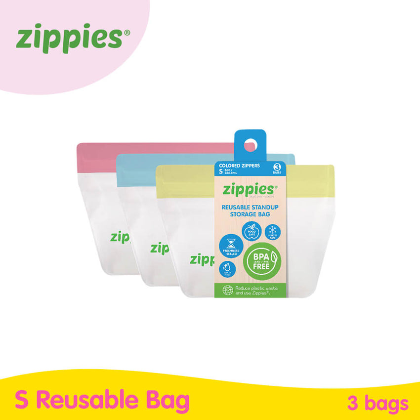 Zippies Colored Reusable Stand-up Pouch (3s)