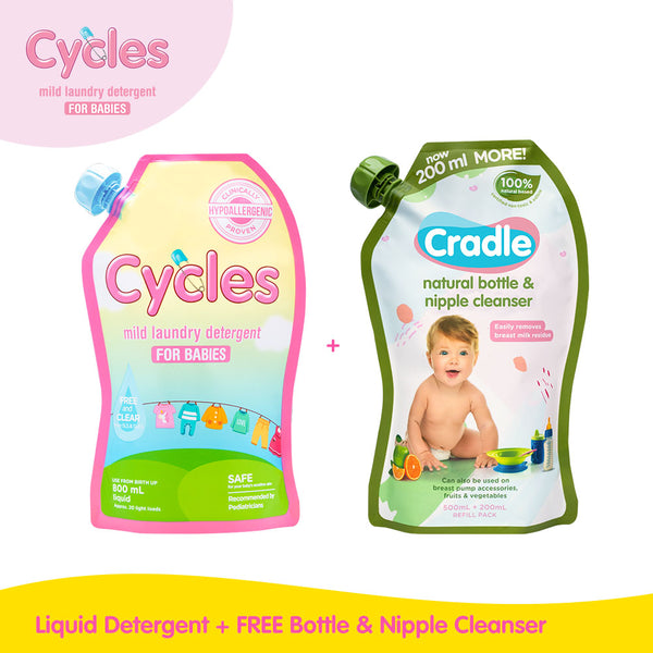 Buy 1 Get 1:  Buy Cycles Mild Laundry Liquid Baby Detergent 800ml + Get Free Cradle Natural Bottle & Nipple Cleanser 700ml Refill