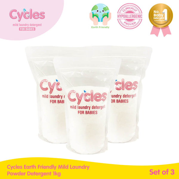 Cycles Earth Friendly Mild Laundry Powder Detergent 1kg Set of 3 (Box-free)