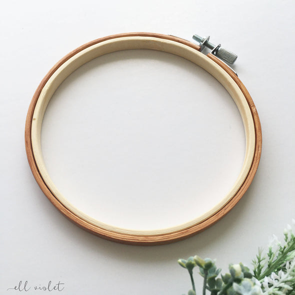 13.5cm / 5.3 Inch Antique Pine Stained Wood Embroidery Hoop