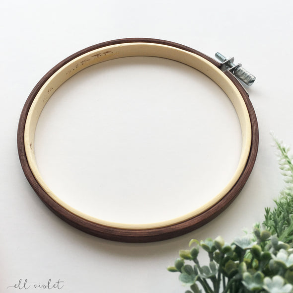 13.5cm / 5.3 Inch Antique Mahogany Stained Wood Embroidery Hoop