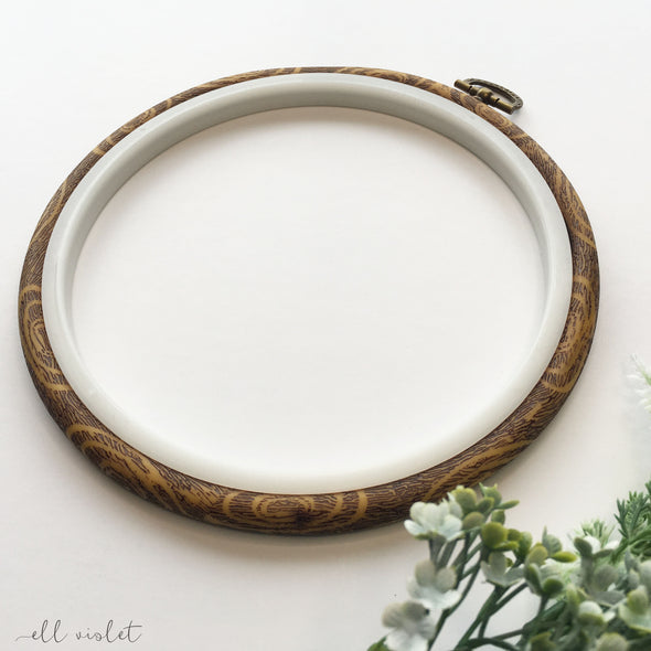 17cm / 6.7 Inch Faux Wood Plastic 'Flexi' Embroidery Hoop