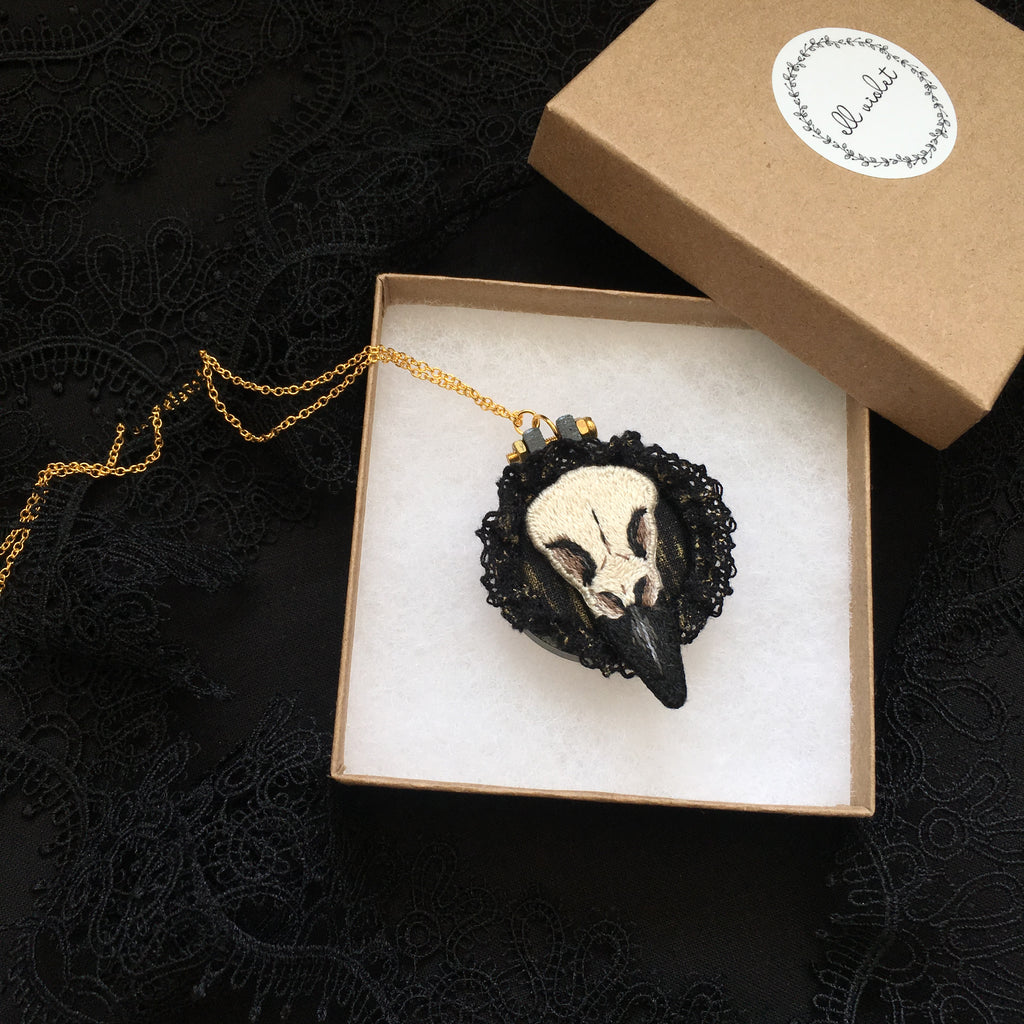 Crow Skull Necklace - Original Embroidered Jewellery