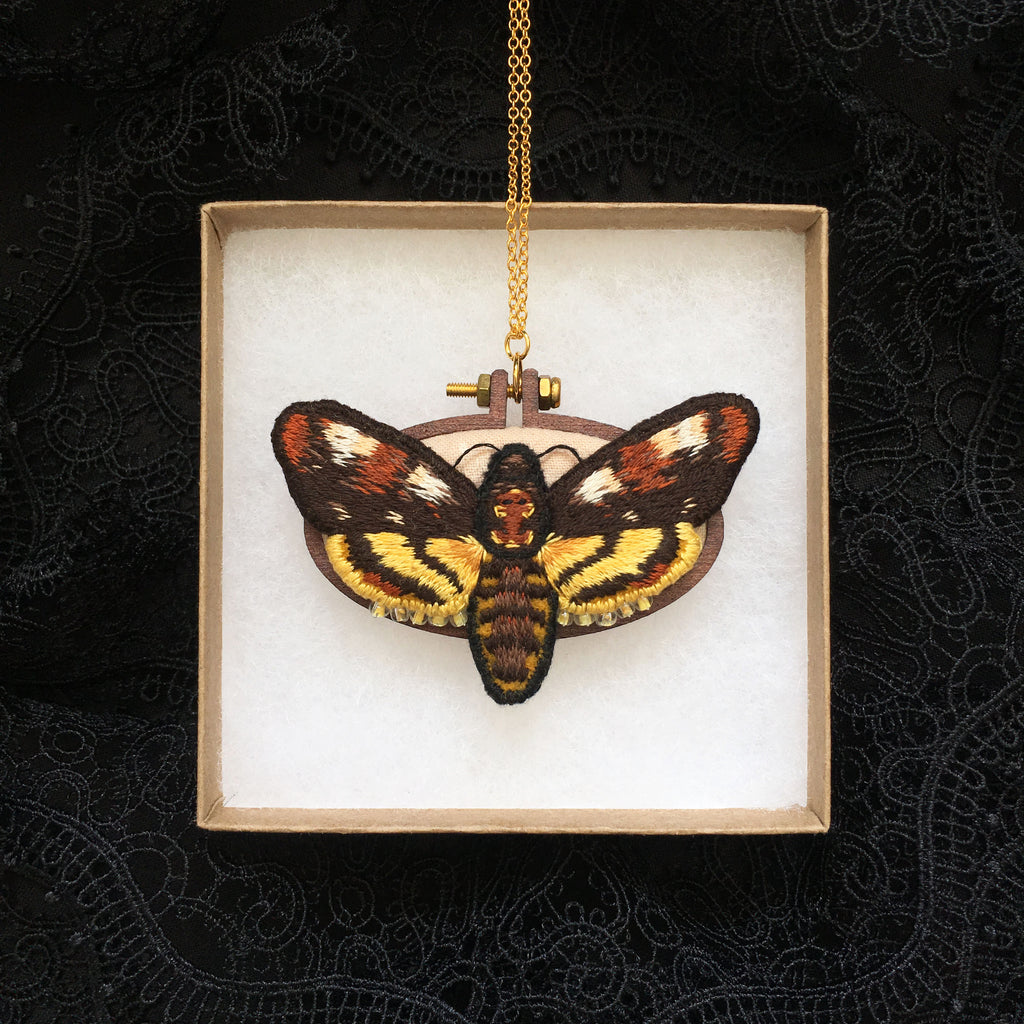 Death's Head Hawkmoth Necklace - Original Embroidered Jewellery