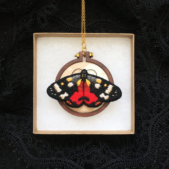 Scarlet Tiger Moth Necklace - Original Embroidered Jewellery