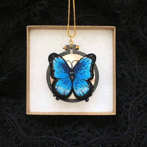 Blue Morpho Butterfly Necklace - Original Embroidered Jewellery