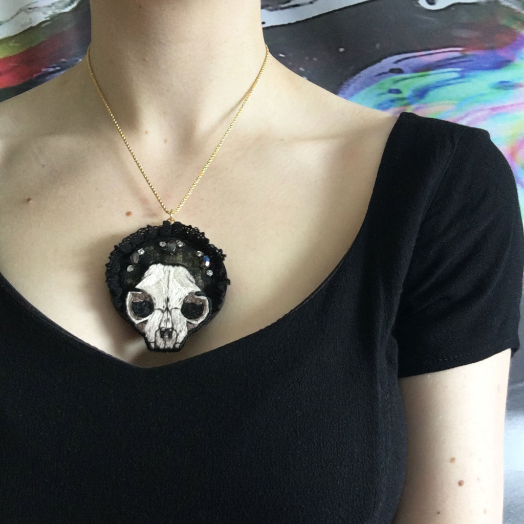 Cat Skull Necklace - Original Embroidered Jewellery