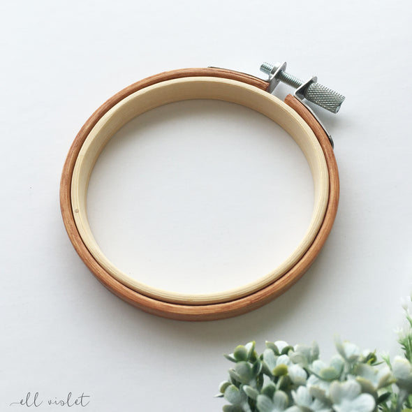 9cm / 3.5 Inch Antique Pine Stained Wood Embroidery Hoop