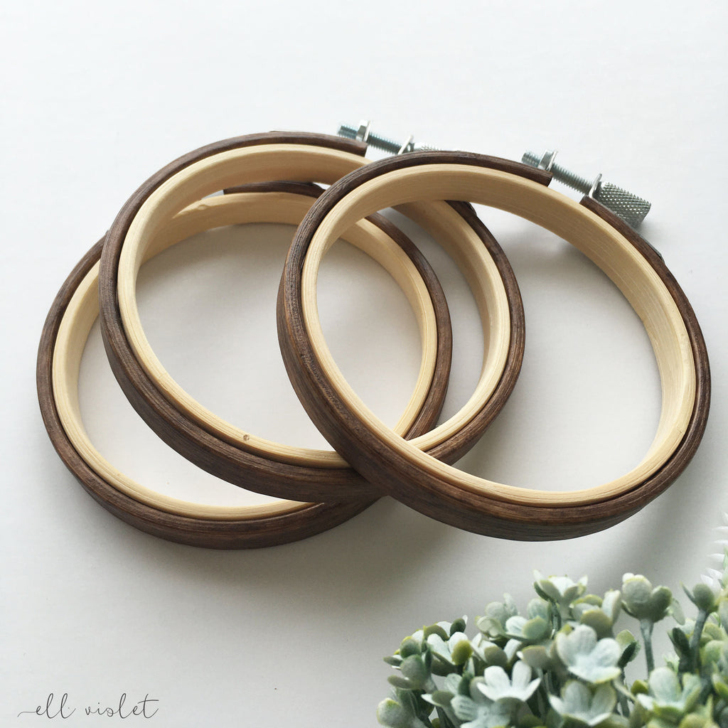 9cm / 3.5 Inch English Walnut Stained Wood Embroidery Hoop