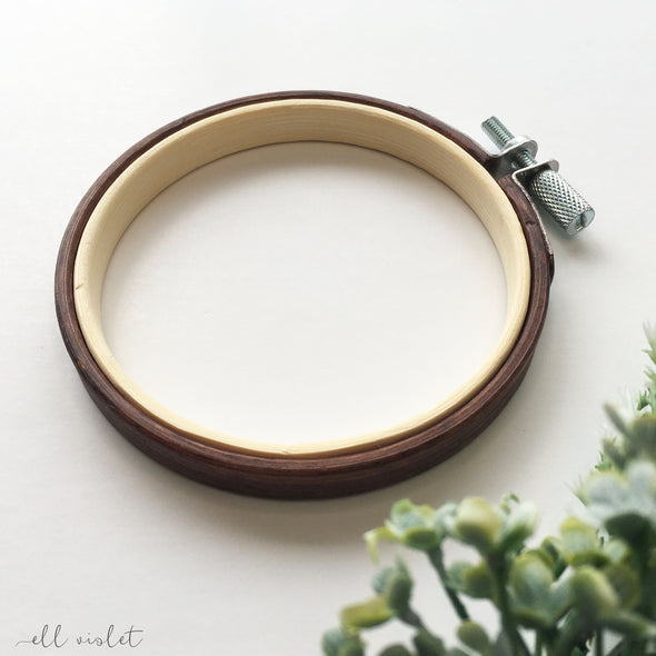 9cm / 3.5 Inch Antique Mahogany Stained Wood Embroidery Hoop
