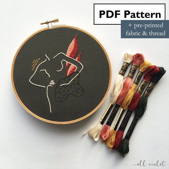 Abstract Nude Hand Embroidery Mini Kit