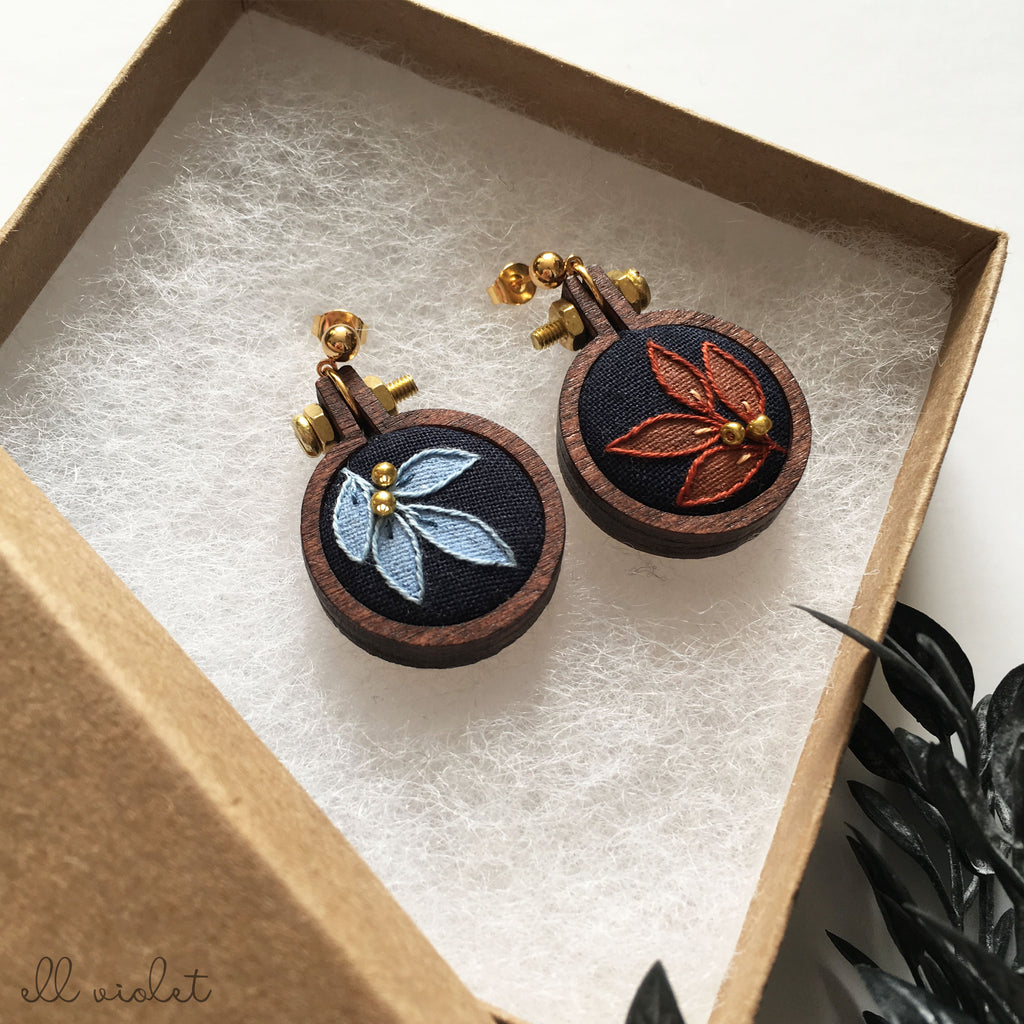 Mismatched Blue and Terracotta Leaf Earrings (Pre-Order)