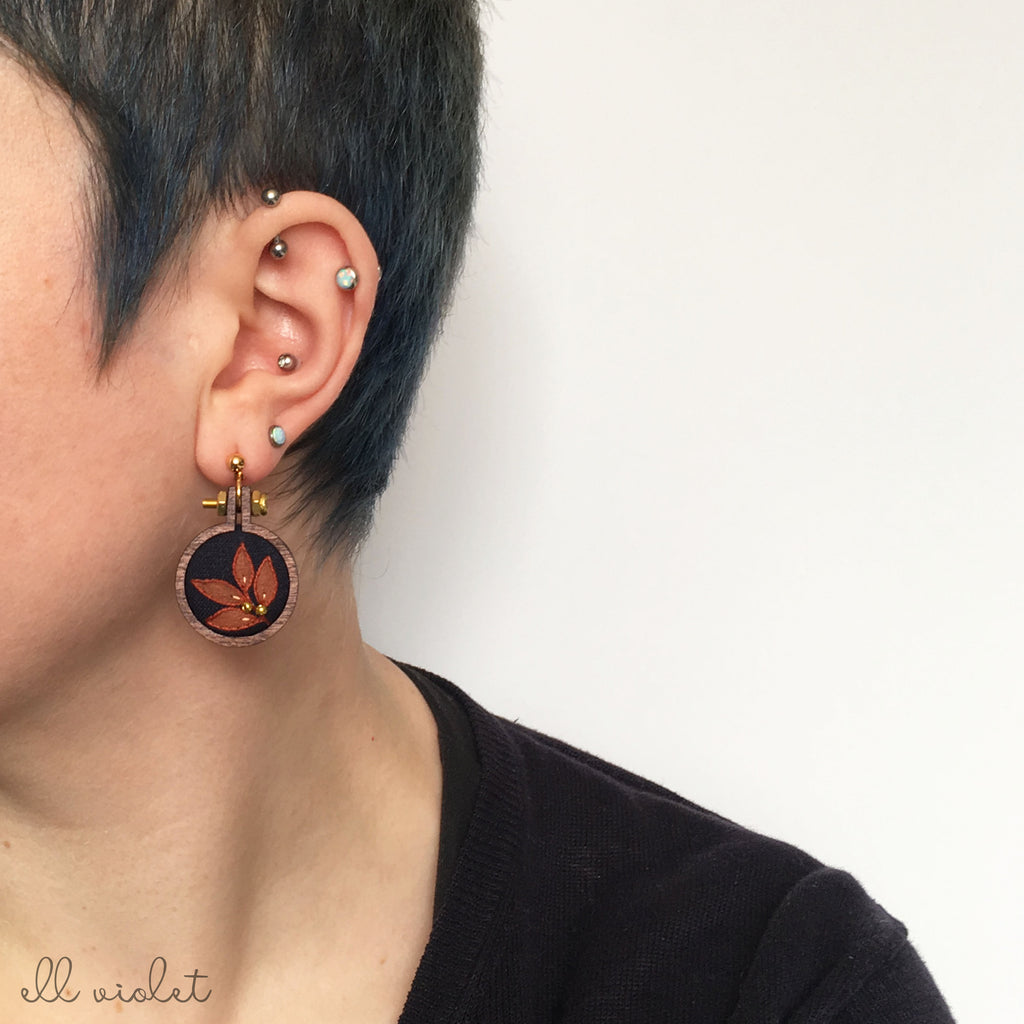 Mismatched Blue and Terracotta Leaf Earrings