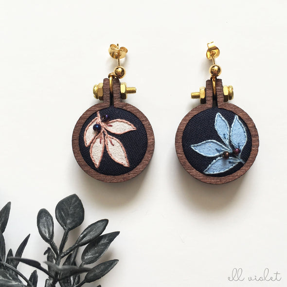 Mismatched Blush and Blue Leaf Earrings