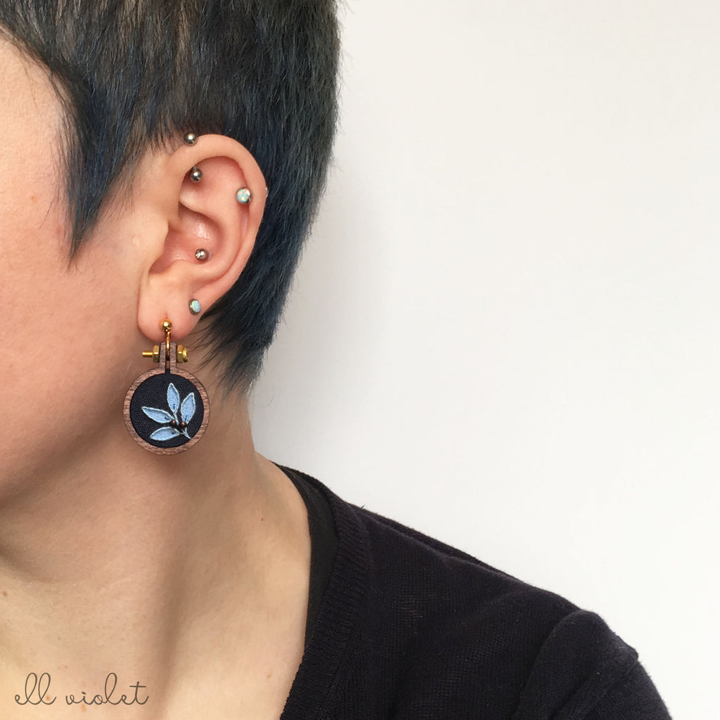 Mismatched Blush and Blue Leaf Earrings (Pre-Order)