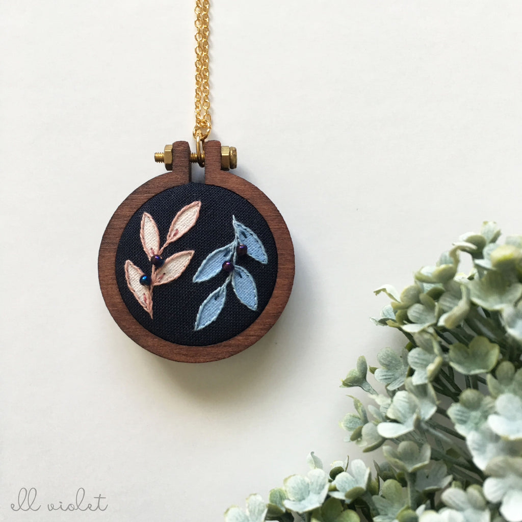 Blush and Blue Sprig Necklace