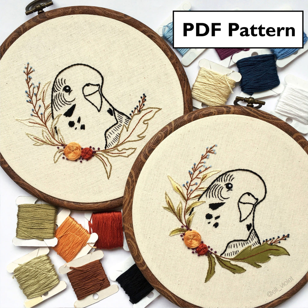 Budgie Hand Embroidery Pattern - Digital Download