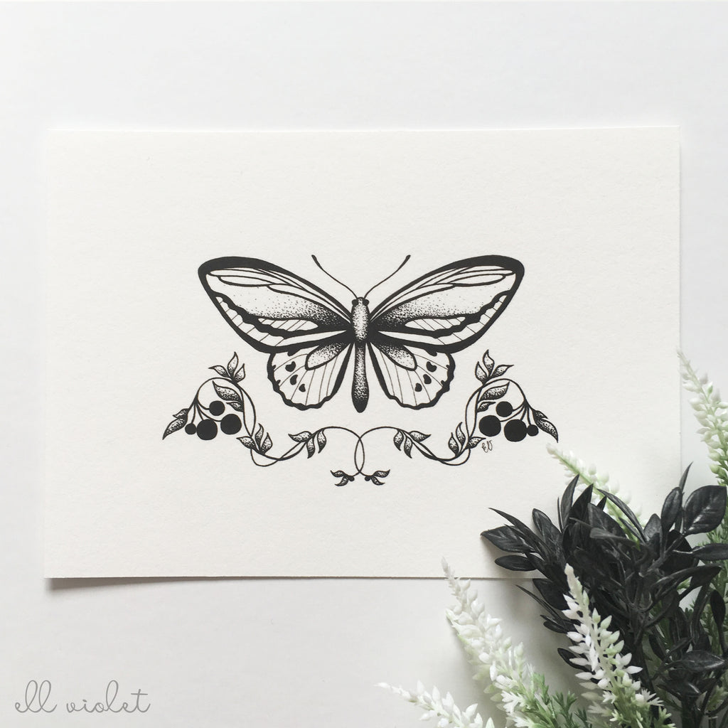 "Dot Work Butterfly 5x7"" Fine Art Giclée Print"