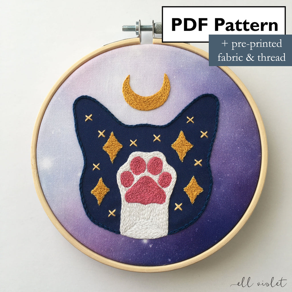 Galaxy Lunar Cat Hand Embroidery Mini Kit