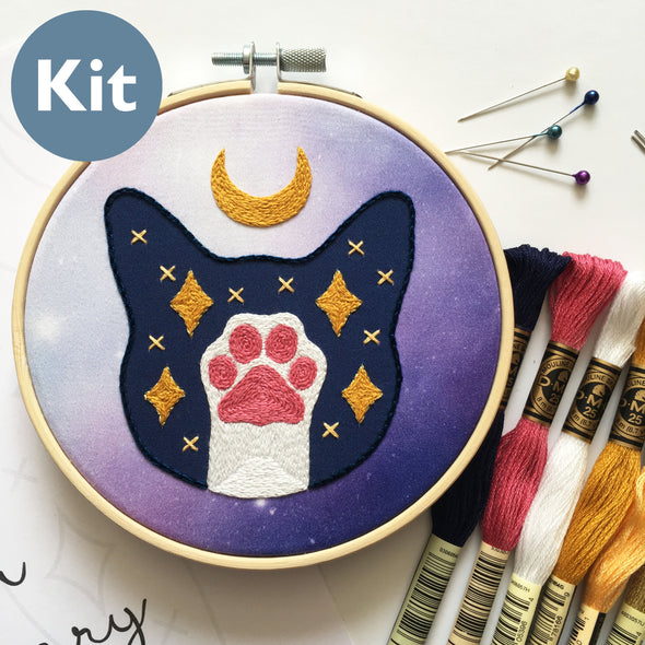 Lunar Cat Embroidery Kit