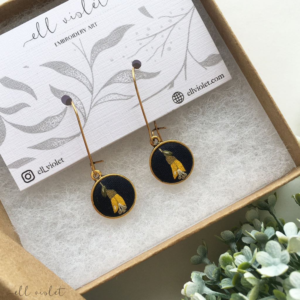 Kowhai Flower Dangle Earrings 02