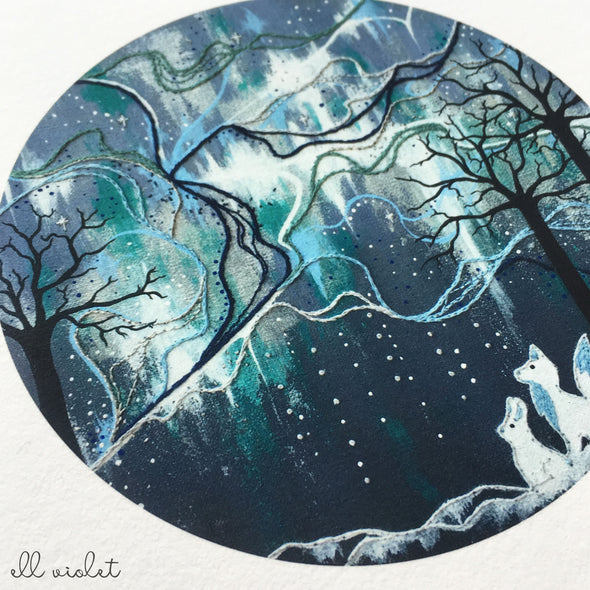 Moon Bunny and Friends I 6x6 Inch Fine Art Giclée Print