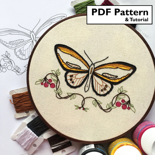 Illustrated Butterfly Pattern - Digital Download