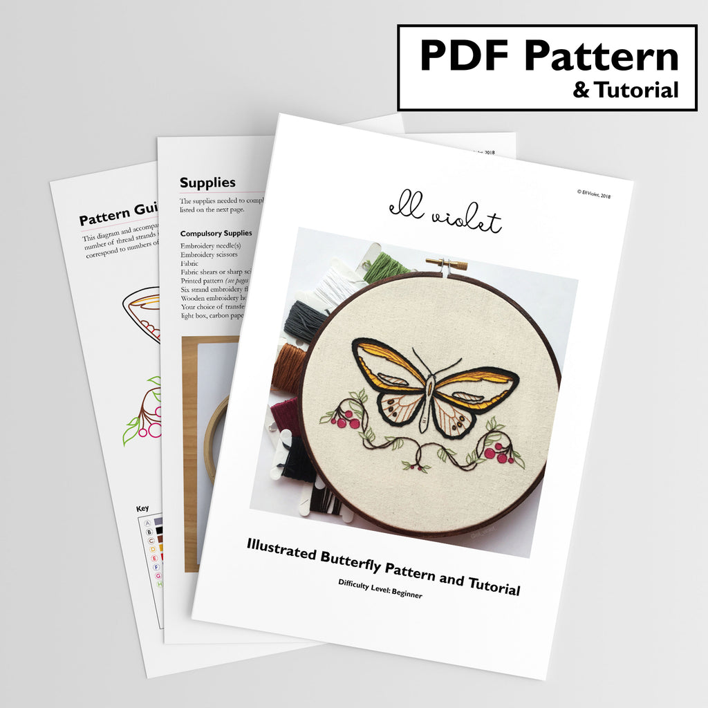 Illustrated Butterfly Pattern + Tutorial - Digital Download