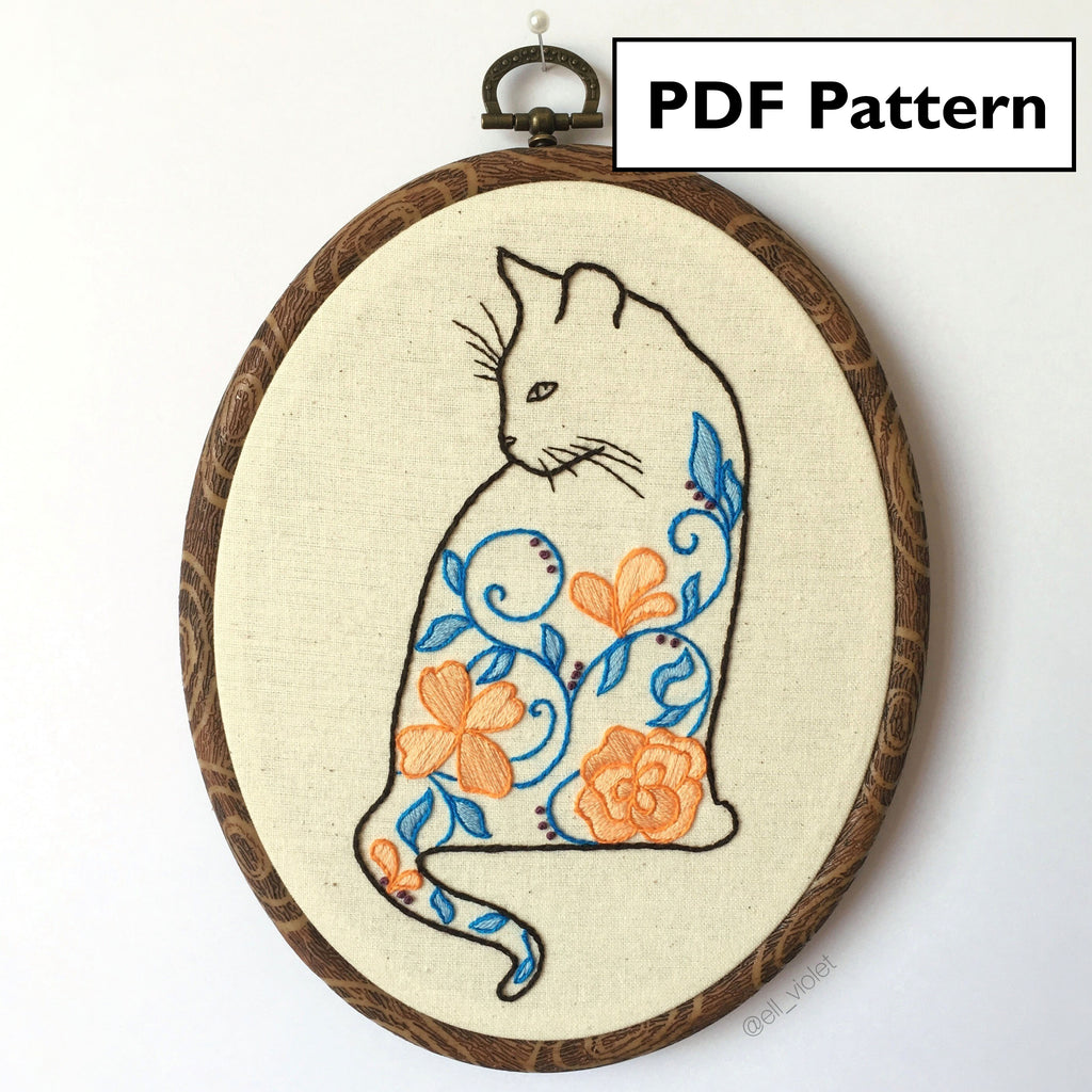 Floral Cat Pattern - Digital Download