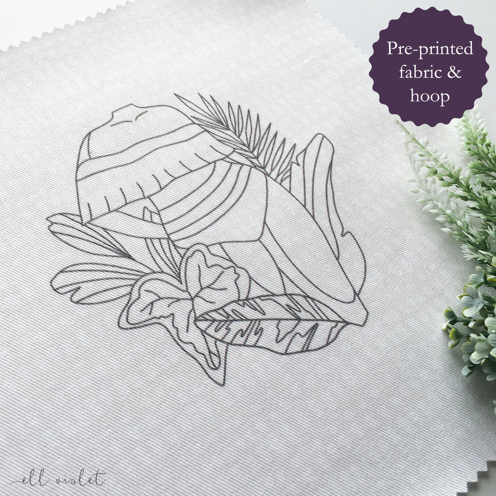Tropical Figure Pre Printed Fabric & Hoop Bundle