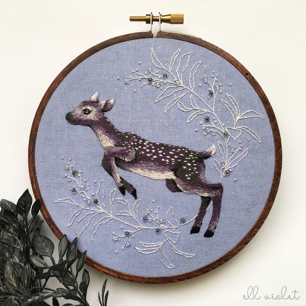 Violet Fawn - Original Embroidery