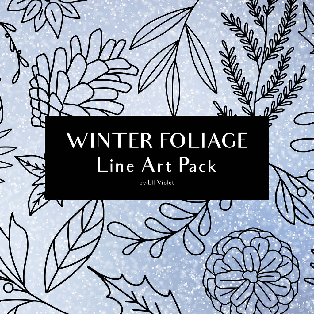 Winter Foliage Line Art + Commercial License - Digital Download