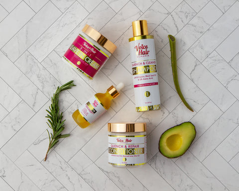 Quench & Cleanse product collection with avocado, aloe and rosemary in the photo