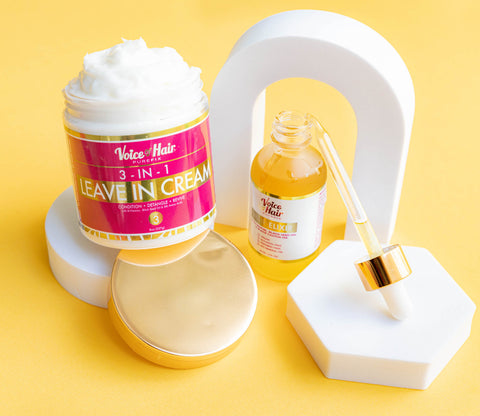 3-in-1 Leave In Cream and the hair elixir, showing the thickness and texture of the cream with the VoiceOfHair Elixir dropper off