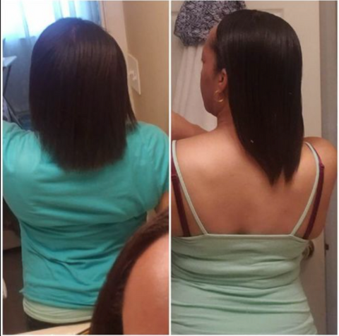 Progression photos of before and after using the VoiceOfHair PureFix Hair Elixir, submitted by a customer
