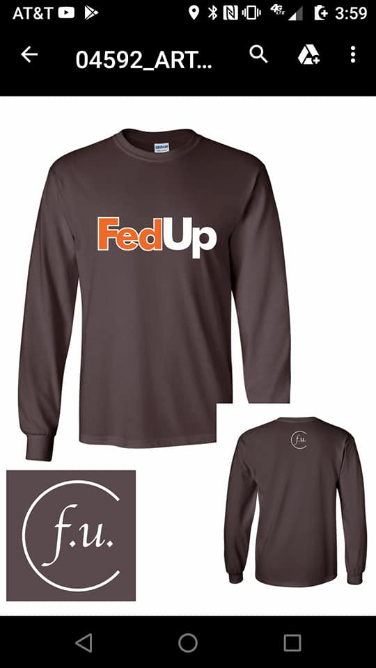 Brown FedUp long sleeve T Shirt