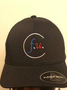 Black fitted f.u. hat red white and blue small/medium and large/xl