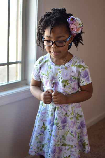 Lilac Floral Twirl Dress