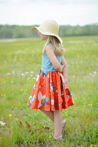Bright Floral  and Lace Summer Dress